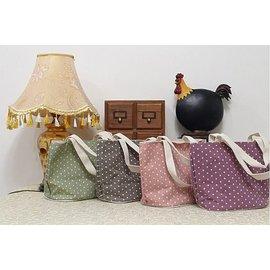 BO雜貨~SV2232~zakka日系無印風棉麻布 水玉點點手提袋 袋水餃包 斜背包 便當