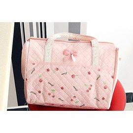 BO雜貨~SV2123~粉黛佳人櫻桃小花手提包 手提袋 旅行包 旅行袋 野餐袋 便當袋