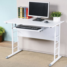 ~Homelike~馬克100cm辦公桌~仿馬鞍皮^(附鍵盤架^) 工作桌 電腦桌 NB桌