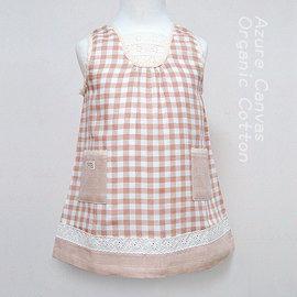☉藍天畫布☉ 惜福品 100%有機棉 女童柔紗格子背心裙洋裝,褐格紋 80~110cm