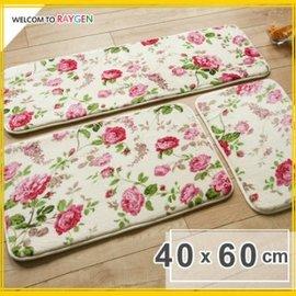 玫瑰圖案防滑吸水夾層法蘭絨門墊 地墊 地毯 40x60【HH婦幼館】