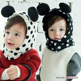 冬款黑白圓點立體耳朵加絨保暖連體圍脖帽 帽子【HH婦幼館】