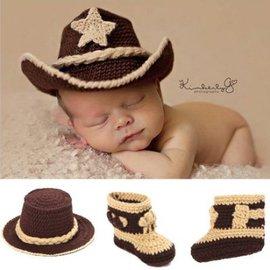 寫真 嬰兒西部牛仔造型 手工 帽子+手鉤鞋 百天攝影套裝【HH婦幼館】