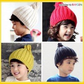 帽子  寶寶五色針織毛線尖頂螺旋護耳帽 套頭帽【HH婦幼館】