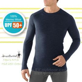 【美國 SmartWool 】男款 Men's NTS Mid 250 Crew 美麗諾羊毛 保暖圓領上衣(UPF 50+)/長袖衛生衣.內衣/登山健行_ SS600 深藍色