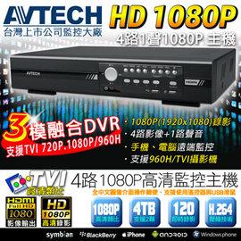 4路1聲 AVTECH HD TVI主機 1080P~60fps 720P~120fps