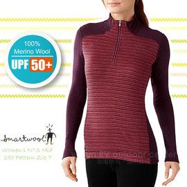 【美國 SmartWool 】女 NTS Mid 250 Pattern Zip T 美麗諾羊毛 半門襟高領保暖上衣(UPF 50+)/長袖衛生衣.登山健行_ SS222 紫紅
