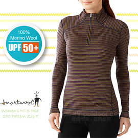 【美國 SmartWool 】女 NTS Mid 250 Pattern Zip T 美麗諾羊毛 半門襟高領保暖上衣(UPF 50+)/長袖衛生衣.登山健行_ SS222 石楠