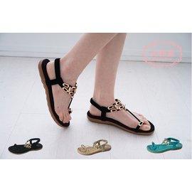 涼鞋〃~美鞋苑~~A01~F309~18~金屬扣環飾夾腳繫裸涼拖鞋.3色.綠 黑 卡其.