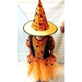 ~派對王國~萬聖節服裝 萬聖節道具 巫婆裝.巫婆服裝 兒童變裝服~橘色黑貓女巫裝^( 製^