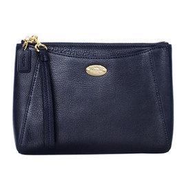 COACH 53417 深藍荔枝紋全皮前夾層方型手拿包^(大^)