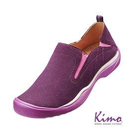 牛皮彈力鬆緊休閒鞋 ^(魅力紫K15WF073059^)真皮.牛皮. 風.足弓墊.彈力.萊