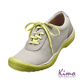 牛皮網布輕量休閒鞋^(活力綠K15WF073062^)真皮.牛皮. 風.足弓墊.彈力.網布