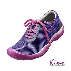 牛皮網布輕量休閒鞋^(魅力紫K15WF073069^)真皮.牛皮. 風.足弓墊.彈力.網布
