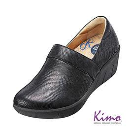 真皮花紋厚底鞋^( 黑K15WF077013^)真皮.牛皮.增高.舒適~Kimo德國 氣墊