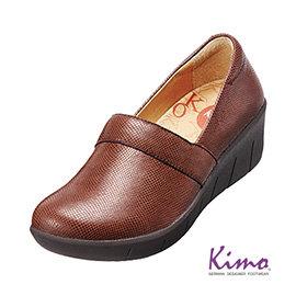 真皮花紋厚底鞋 磚紅咖K15WF077017 真皮.牛皮.增高.舒適~Kimo德國 氣墊鞋