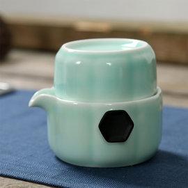 5Cgo~ 七天交貨~ 44516954095 龍泉青瓷魚杯快客杯個人茶杯旅行便捷一壺一杯