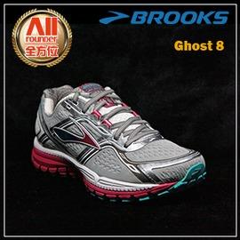 ~BROOKS~~全方位 戶外館~女款避震型慢跑鞋 D寬楦 Ghost 8 ~ 灰紅色 9