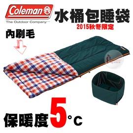 探險家戶外用品㊣CM-26649 美國Coleman 5度紅格紋 水桶包睡袋 內刷毛睡袋可機洗可雙拼 化纖睡袋露營寢袋