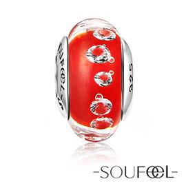SOUFEEL索菲爾 925純銀珠飾~紅色夢幻~義大利琉璃珠