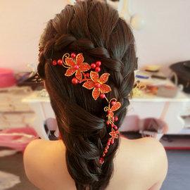 5Cgo~ 七天交貨~37057579276 新娘頭飾紅色珍珠花朵軟鏈韓式水鑽頭花旗袍禮服