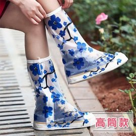 雨鞋套 新款防雨鞋套男女加厚底雨鞋時尚防水鞋套 成人防滑下雨天雨靴套 高筒款 【HH婦幼館】