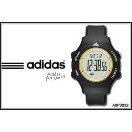~時間道~〔ADIDAS愛迪達〕~買就送發光小鬧鐘~簡約圓黑面電子腕錶–金內框黑膠^(AD