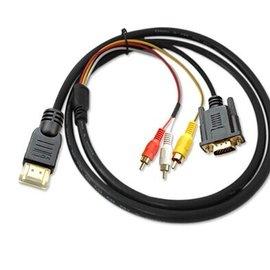新竹市 HDMI(公) 轉 VGA(公)+3RCA(公)紅白黃 AV蓮花線/訊號線/轉接線/傳輸線  (1.5米) 【DHR-00003】
