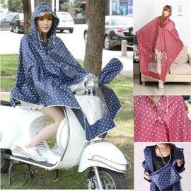 騎車韓國時尚白色圓點連帽自行車電動車女大人成人風衣款雨衣雨披【HH婦幼館】