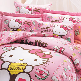 ~鴻宇HONG YEW~美國棉 製 抗菌 Hello Kitty繽紛甜心系列~單人床包組H