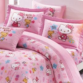 ~鴻宇HONG YEW~美國棉 製 抗菌 Hello Kitty我的甜蜜夥伴系列~單人床包