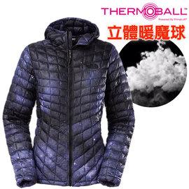 【美國 The North Face】女新款 PrimaLoft ThermoBall 超輕量暖魔球保暖連帽外套(可機洗).兜帽夾克.大衣/媲美羽絨科技/CUD4 石榴紫印花