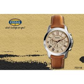 ~時間道~〔FOSSIL~錶〕新 主義中性計時羅馬刻度腕錶 米黃面咖啡皮^(FS5118^