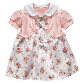 千趣會可愛女童短袖連衣裙 女孩翻領蕾絲邊短袖收腰小外套碎花紐扣襯衫連衣裙女寶寶碎花下擺小花