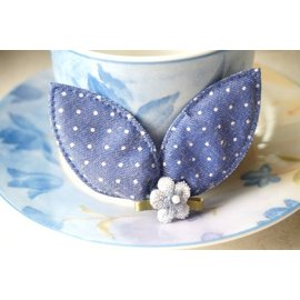 ~liliantang~嬰幼兒髮飾~~可愛的小兔耳髮夾~~海軍藍滿天星