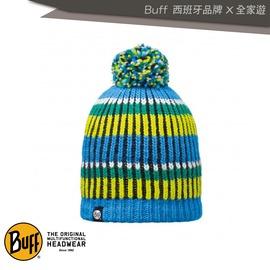 ~全家遊戶外~㊣Buff 西班牙 藍綠橫紋毛球 POLAR針織帽 BFL110990~70