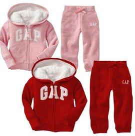 2015 兒童保暖棉衣套裝 GAP羊羔絨男女寶寶 套裝 男女童純色字母拉鏈連帽大口袋長袖外