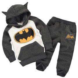 復仇者聯盟 2015 兒童立體蝙蝠俠 加絨保暖套裝 男女童卡通蝙蝠俠耳朵拼色長袖連帽衛衣
