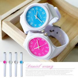 Daniel Wang 4118  風格 白色框數字PU橡膠手錶