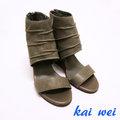 kaiwei 率性皺褶設計真皮楔型涼鞋-灰綠