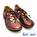 kaiwei MONTOYA專櫃進口復古小牛皮舒適綁帶休閒鞋-酒紅