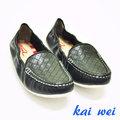 kaiwei 百貨專櫃品牌輕巧柔軟真皮休閒鞋-黑