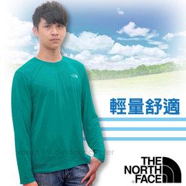【美國 The North Face】男款 LOGO 快排長袖T-Shirt.長袖快排衣.運動T恤.休閒衫/舒適好穿.快乾纖維/ CNL8 瓷釉藍