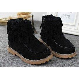 可愛流蘇蝴蝶結女童靴子^(黑色^) 小童雪靴 短靴 小童21^~25