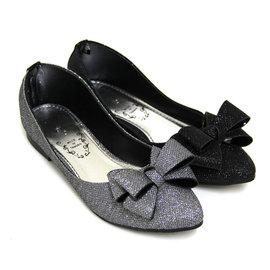 極致魅力閃耀金蔥蝴蝶結尖頭低跟鞋