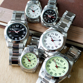 5138 GECCU 知性氣質數字錶盤金屬錶帶對錶