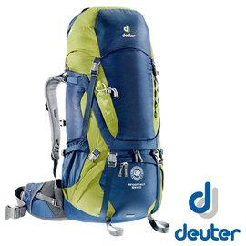 【德國 Deuter】Aircontact 55+10L 拔熱透氣背包/登山背包.露營背包雙肩背包.旅行包_藍/綠 4320415