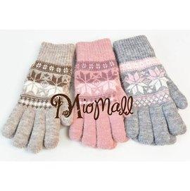 MioMal l 雪之戀~ 雪之戀 保暖浪漫雪花 童話系女孩 銀蔥雪花針織保暖手套~ 咖啡