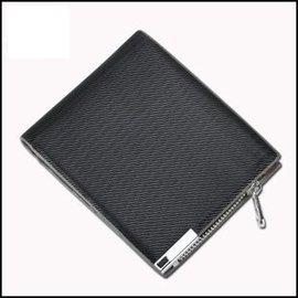 ~瞎買天堂x極致品味~黑色細紋短夾 男人的格調 拉鍊可放零錢 多卡位 皮夾 錢包~CBAA