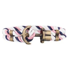 PAUL HEWITT德國 PHREP 深藍粉紅白三色 尼龍繩編織 仿舊古銅船錨 手環手鍊
